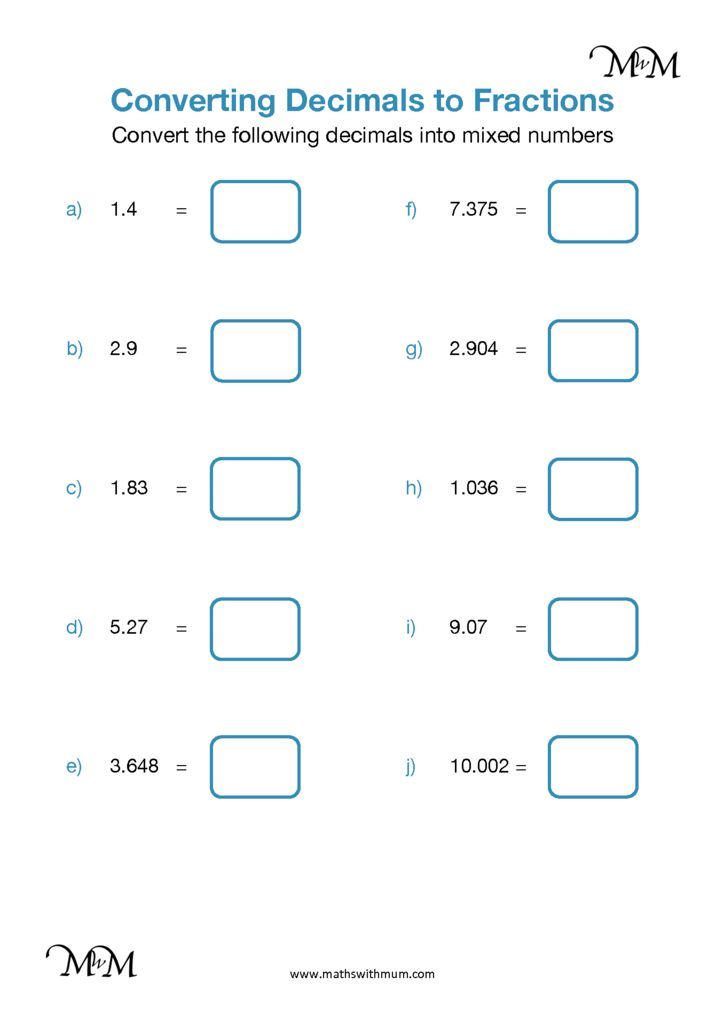 Converting Decimals To Fractions Decimals Greater Than