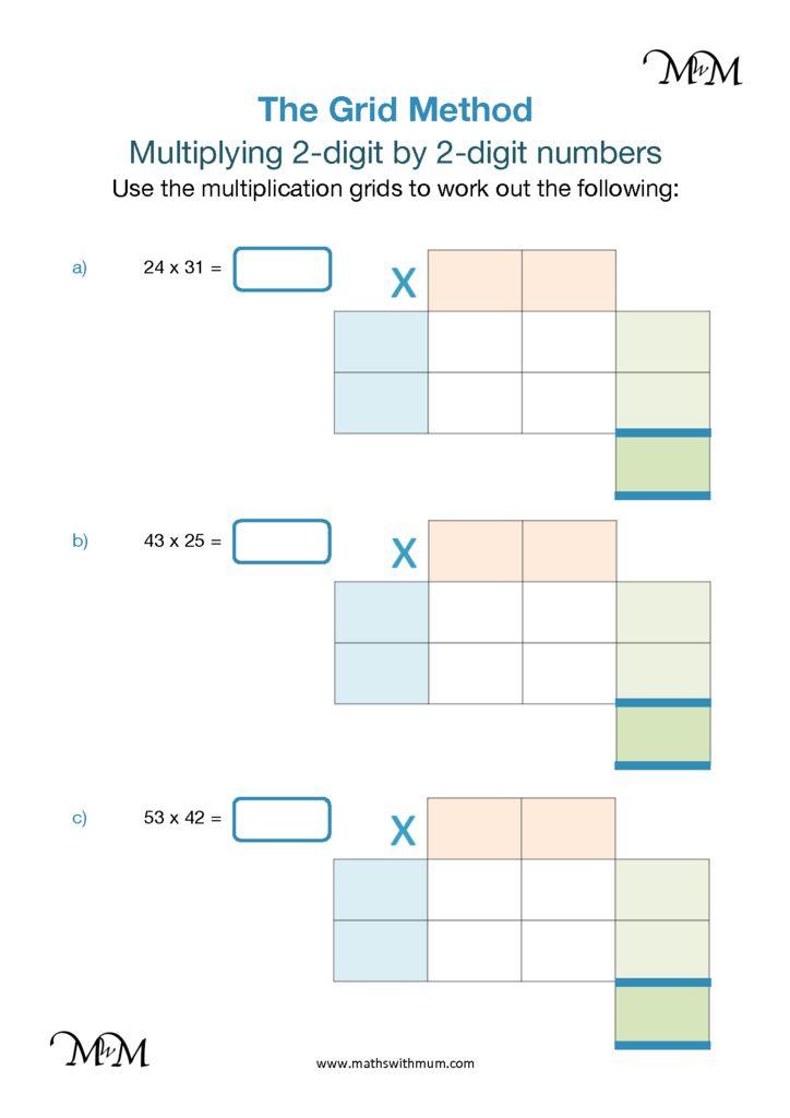 grid method multiplying two digit numbers maths with mum. Black Bedroom Furniture Sets. Home Design Ideas