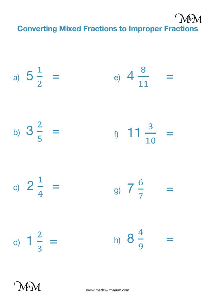 Converting Mixed Numbers To Improper Fractions Maths
